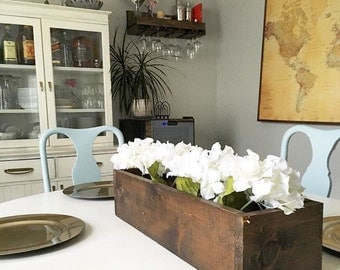 Rustic Wood Box Centerpiece Planter