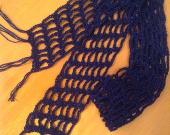 Lightweight Crochet Scarf - Sparkly Blue