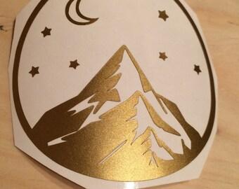 Mountain Vinyl Decal, Vinyl Stickers, Laptop Decal, Car Sticker, Mountain Laptop Sticker, Car Decal