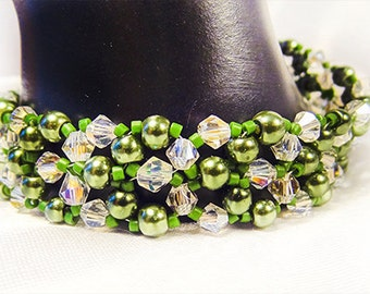 CRYSTAL & PEARL BRACELET, pearl jewelry, crystal bracelet, crystal jewelry, green pearls, clear crystals, green seed beads, toggle - 1352