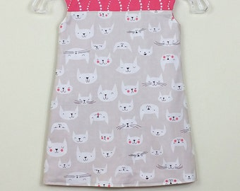 """Size 3 - Fully reversible - """"Alexandra Dress"""" - Happy cat and Geo Floral   (one of a kind)"""