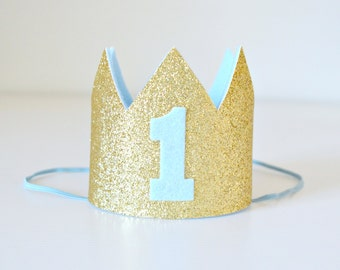 Baby Boy 1st Birthday Mini Glitter Crown | Gold Glitter & Blue | First Birthday Party or Cake Smash or Photo Prop | Made to Order