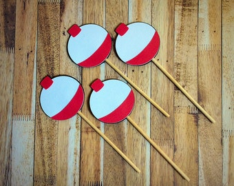 Fish and bobber  cupcake toppers - fishing birthday party - Fish - Bobber -party decoration - fish
