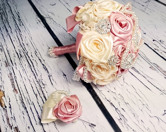 Satin ribbon flowers wedding BOUQUET dusky pink ivory creme pearls sparkling brooches cotton lace vintage style custom