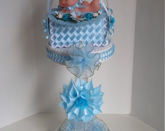 Light blue baby shower centerpiece, baby boy centerpiece