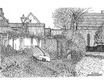 "Original Artwork, Pen and ink Drawing, Riverside illustration - ""Beside the Great Stour"" boat A4 Mount art row boat riverside Canterbury"