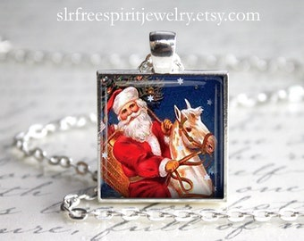 Christmas Jewelry, Holiday Necklace, Santa Necklace, Gift for Christmas,  Santa on Horse Necklace, Santa Claus