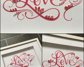 Unique Framed 'Love' Artwork Mixed Media Piece Valentine, Wedding or Anniversary Gift Homeware
