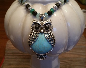 Charming Owl Necklace and earring set