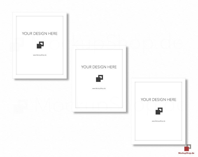 WHITE FRAME MOCKUP / 8x10 / Set of 3 / Frame Mockup /  White Photo Frame Mockup / Instand Download / Frame Stockphoto / Mock Up Frame
