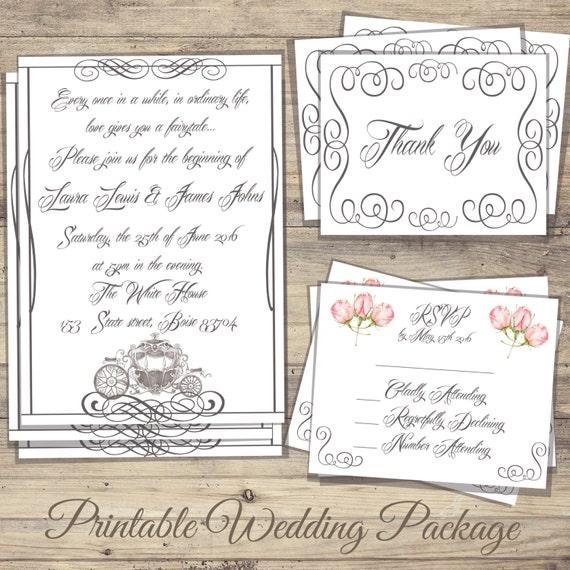 Cinderella Wedding Invitations Kit Cinderella Wedding