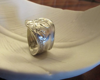 Spoon ring. Silverware ring.Violet Spoon ring. Art Nouveau spoon ring.