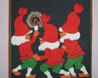 "Nice 60s retro Christmas vintage wall hanging Tapestry with Santas. Designed by Hildegard ""Hill"" Olmås, Sweden Scandinavian"