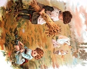 De Wolfe Fiske 1900 - Baby CHILDREN WORKING in the FIELD Harvesting Picking Wheat -  Professionally Matted Antique Print Chromolithograph