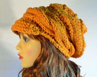 Mustard Knit Hat, Mustard Hat, Cable Knit Beanie, Slouchy Knit Hat, Slouch Beanie, Slouchy Hat, Wool Hat,  Hand Knit Hat