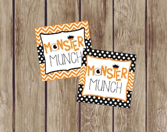 Monster Munch Halloween Gift Tags. Perfect for Halloween Party. Trick or Treats, Party Favors, Class Gifts