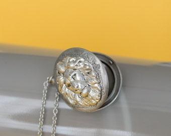 Lion Locket Necklace Lion GiftsBrass Locket Lion Locket Necklace Leo Locket Birthday Locket Necklace Secret Locket Photo Locket Gift for Her