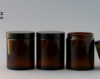 4 x 175ml large amber glass jar with wadded black cap