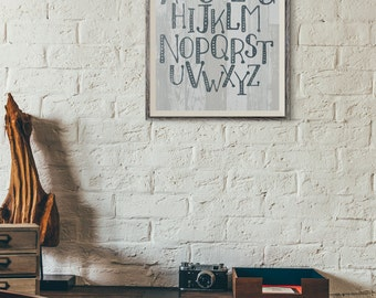 Typographic Watercolor ABCs Wall Art