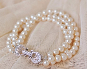 Pearl Bridal Bracelet Three Strand Blush Pearl Bracelet Bridesmaid Gift Swarovski Pearl Bracelet Bridesmaid Bracelet Wedding Bracelet