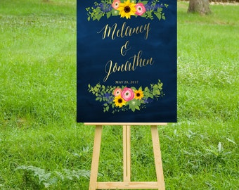 The SAM . Welcome Wedding Ceremony Sign Printed on Heavy Paper, Foam Board or Canvas Calligraphy Chalkboard Sunflower Ranunculus Delphinium
