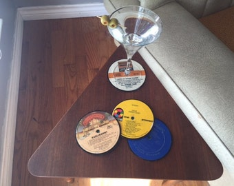 Set of 4 authentic vinyl record coasters (assorted mix)