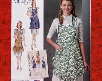 Simplicity Sewing Pattern 8232 Pinafore Aprons, Ruffled, Bib Heart-Shaped, Vintage Retro 1940's Style, Bridal Shower & Holiday Gift, UNCUT