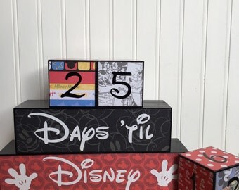 Disney vacation countdown blocks three cube set with reversible days 'til and weeks 'til block.
