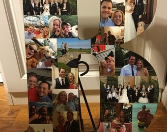 """Wooden Letter Photo Collage (18"""" Tall)"""