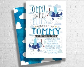 Airplane Birthday Invitation |  Airplane Birthday Invite | Time Flies | Plane Birthday Theme  | DIGITAL FILE ONLY