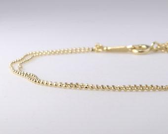 14K Solid Gold Delicate Bracelet, Dainty Chain Bracelet, Thin Gold Chain, Layering Bracelet, Dew Drops Bracelet
