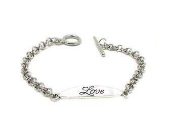 Love Charm Bracelet, Love Bracelet, Silver Charm Bracelet, Silver Love Charm, Silver Chain Bracelet, Girlfriend Gift, Love Word Bracelet