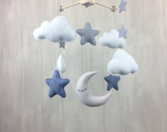 Cloud mobile - moon mobile - sleeping moon - star baby mobile - baby mobile - baby crib mobile - nursery mobile