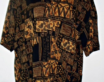 Vintage Ladies Blouse Abstract Tribal Print  Mainport Size XL Browns Rayon