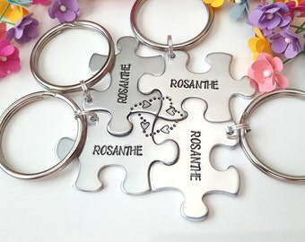 Family Keychain, Last Name Gift, Personalizable Keychains, Gift for Wedding Party, Bridesmaid Gifts, Wedding Gifts, Puzzle Piece Keychains