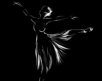 Minimalist Art Print, Ballerina Ink Drawing, Print from Original Drawing, Modern Wall Art
