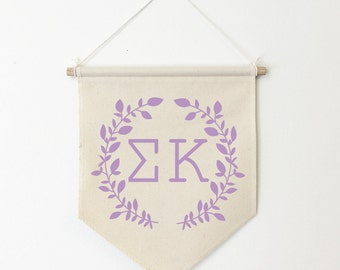 Sigma Kappa Wreath Wall Banner, ΣΚ, Sorority Wall Hanging, Sorority Gift, Greek Letters, Pennant, Wall Flag, Dorm Decor