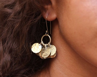 Floos Cluster Brass Earrings, Brass Dangle Earrings, Handmade Boho Earrings