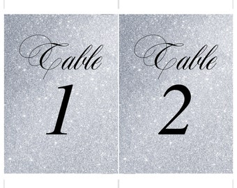 1-30 Table Numbers Wedding Table Number Faux Silver Glitter Effect Wedding Decor Number Card Decoration Digital Printable