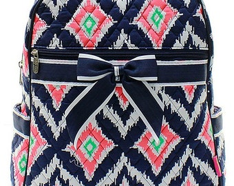 IKat Print Quilted Monogrammed Backpack Navy Blue Trim