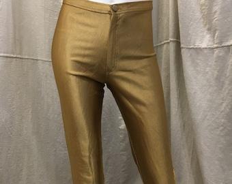 Gold Rocker Disco Pants // Shiny Women's High Waisted 1970s Vintage Michi Stretch Pants Halloween Costume