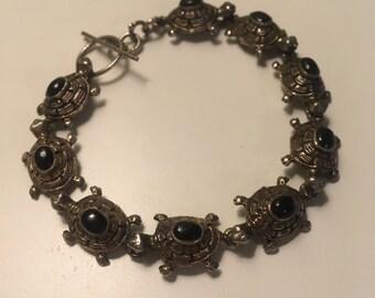 Vintage Sterling Silver Black Onyx Bracelet