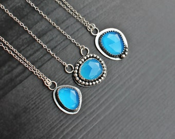 Blue Chalcedony Necklace, Sea blue gem, blue black necklace, bohemian jewelry, hippie necklace, pendant chalcedony, unique boho necklace