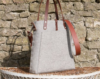 Tote bag with cross body strap, market bag, felt tote bag, shopper bag, gift for her bags & purses