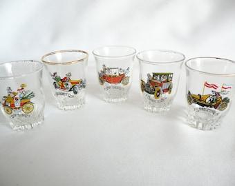 Vintage Shot Glasses with Vintage Automobile Motif Made in France Set of 5