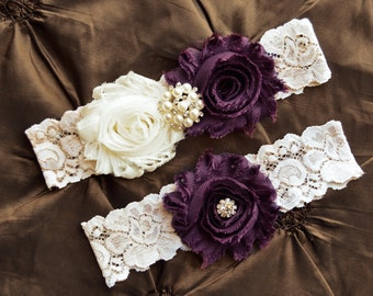 Plum Garter- Wedding  Garter- Plum Garter Set-Wedding Garter- Bridal Garter-Bridal Garter Set- Garter Belt-Garter- PROM