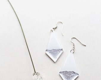 contemporary dangle earrings white and silver earrings geometric earrings white earrings silver dipped earrings stylish earrings gift idea