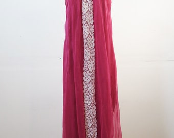 70's Sheer Nightgown Vintage Fuchsia Bright Pink Night Dress with Lace Trim SMALL / MEDIUM
