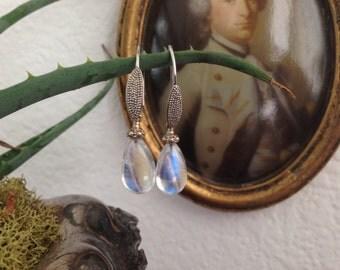 Moonstone and 18K White Gold Earrings Handmade