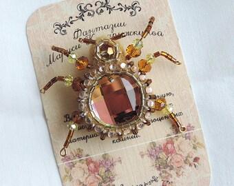 Handmade brooch beetle, Shining brooch, Beaded beetle brooch